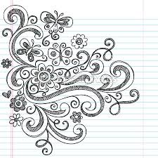Small Picture Flower and Butterfly Sketchy Doodles Design Elements Drawing