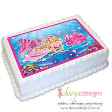 Barbie Mermaid A4 Edible Icing Cake Topper Ei179a4 Deezee