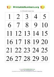 Printable Numbers Chart 1 30