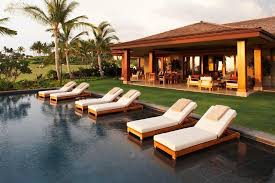 pool chaise lounge chairs with tropical porch also
