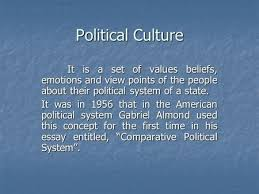 political culture this concept was first used by gabriel almond political culture it is a set of values beliefs emotions and view points of the