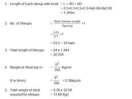 Square Bar Weight Chart Bar Bending Schedule For Neck Column Estimation Of Steel