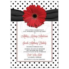 Polka Dot Invitations Red Daisy Polka Dot Wedding Invitation Retro Red Black White