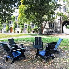 there are now 64 of these lawn chairs made 100 from recycled milk containers across campus princeton university instagram caption