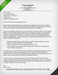 Fair Cover Letter Samples Administrative Assistant Classic Career
