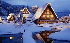 Download Wallpaper 1280x800 Winter Snow Lodges Lake