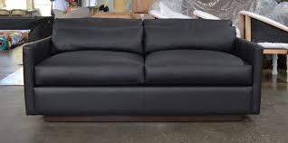 dexter leather sofa in jet black ink 72 inch front