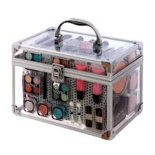technic essential large clear carry case with cosmetics each