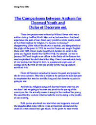 comparisons between anthem for doomed youth and dulce et decorum page 1 zoom in
