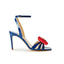 blue patent leather high heel sandals with ankle strap and multicolor bow ss19 collection by