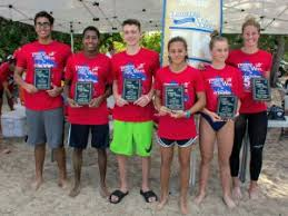 Top swimmers with overall winner (L-R) John Bodden, Liam Henry, Alex  Dacers, Raya Embury-Brown, Avery Lambert and Canadian Olympian Stephanie  Horner : CNS Local Life