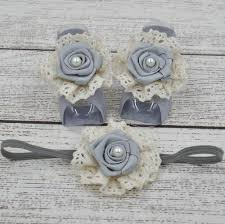 retail baby barefoot sandals with satin rosette and pearl matching headband luxe
