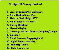 Overload Chart 12 Signs Of Sensory Overload A Helpful Chart For Friends