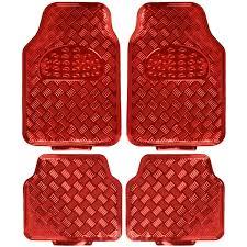 Red Metallic Rubber Floor Mats Set 4pc Car Interior Set HD Auto