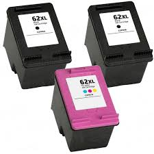 Replacement Hp 62xl Combo Pack 3 Ink Cartridges 2x Black 1x Color High Yield
