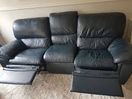 dfs genuine leather navy blue recliner