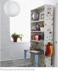 This is a fantastic space saving idea that I found at Canadian Family.  Double-Duty Bookcase Desk