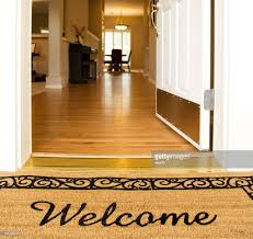 open door welcome mat. \u0027Welcome\u0027 Mat In Front Of White Open Door : Stock Photo Welcome