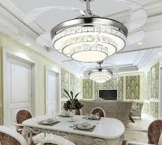 modern simple stealth fan lights living room bedroom restaurant lights crystal ceiling fan remote control led chandelier