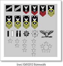 Navy Rank Insignia Chart Us Navy Rank Insignia Art Print Poster