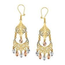 gold chandelier earrings 14k tricolor gold chandelier earrings ejer22816