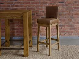 brown leather extra tall bar stools with oak