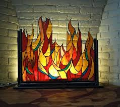 ideas stained glass fireplace screens or illuminated stained glass fire screen the illusion without the mess