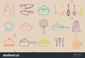 Vector retro kitchenware line icon set cookware trendy design