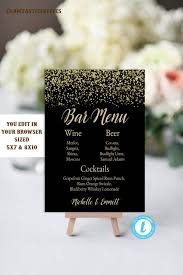 Event Menu Template Beauteous Wedding Bar Sign Bar Menu Template Bar Menu Sign Printable Etsy
