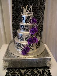 Purple Silver And Black Wedding Cakes Decorating Of Party
