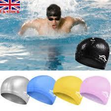 Details About Unisex Adult Fashion Swimming Cap Bathing Hat Elastic Polyester Women Men Cap