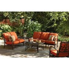thomasville messina 4 piece patio sectional seating set with paprika cushions