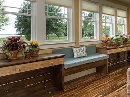 Decorations:Corner Bay Window Decor With White L Shaped Storage Bench Made  From Wood With