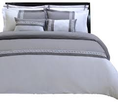 emma 7 piece duvet cover set full queen gray and white contemporary