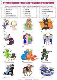 types of movies types of films movies esl vocabulary matching exercise worksheet