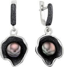 Серебряные <b>серьги</b> с подвесками <b>De Fleur 52270S2B</b> с жемчугом ...
