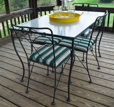 Vintage meadowcraft wrought iron glass top table & chairs dining