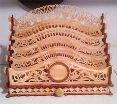 Table letter rack with drawer, scroll saw fretwork pattern | Для дома