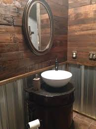 Pallet Wall Bathroom Remodel Rustic Bathroom With Pallet Wall And Corrugated Tin