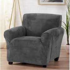 velvet plush form fit stretch t cushion armchair slipcover