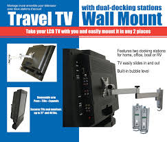 this unique lcd mount features dual docking stations one station can be mounted in the home and the other in the rv or one on the inside of the motor home