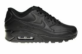 nike air max 90 leather all black 302519 001 sneakers