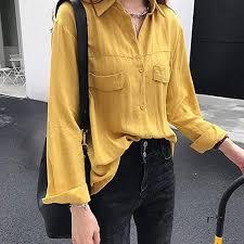 Buy AKDSteel Women <b>Solid</b> Color Shirt Thin <b>Chic Long Sleeve</b> ...