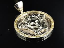custom medusa head yellow diamond pendant