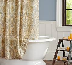 bathroom complimented matching earthenware bath blythe paisley organic shower curtain neutral pottery barn