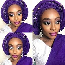 nigerian enement bridal makeup and gele