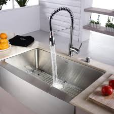 kraus khf20033kpf1612ksd30ch 33 inch farmhouse single bowl stainless steel sink with spiral spring faucet soap dispenser 10 inch bowl depth