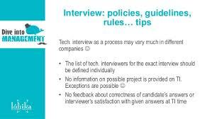 interviews good bad efficient tips for technical interviewersinterview policies