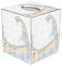 Nautical Chart Holder Tb2739 Cape Cod Nautical Chart Tissue Box Cover
