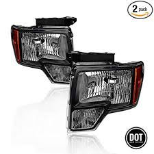Replacment Headlights Assembly For 2009 2010 2011 2012 2013 2014 Ford F150 Black Housing Amber Corner Headlamps Driver And Passenger Side Oe Replace